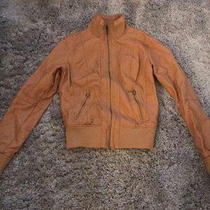 Forever 21 Cropped Moto Bomber Leather Jacket